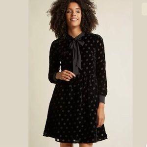 ModCloth Lace & Mesh velvet polka dot dress
